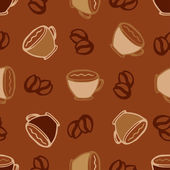 Hot  coffee cups seamless pattern background for cafe or restaurant menu design — Stock Vector