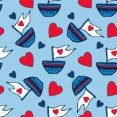 Seamless pattern of hearts and ships hand drawn. Kids red and blue seamless pattern can be used for pattern fills, wallpapers, web page backgrounds. — Stock Vector