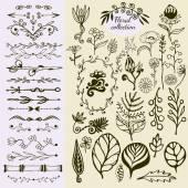 Elementos florales vintage dibujados a mano. — Vector de stock