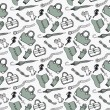 Doodle hand drawn girls fashion accessories and handbags seamless pattern. — Stock Vector #69652525