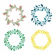 Watercolor flowers wreath set. Floral round frame collection. Hand painted wedding or greeting card decoration. Vector isolated element — Stock Vector #72491365