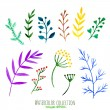 Vector floral set. Colorful floral collection with leaves and branches, watercolor painting. Isolated design elements for invitation, wedding, birthday decoration or greeting cards. — Stock Vector #72496125