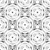 Elegant black round forged seamless pattern. Vector black and white background with arrow, circle and heart decoration — Stock Vector