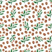 Pattern with coffee branch with leaves — Stock Vector