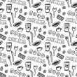 Good morning seamless pattern. Vector seamless pattern with doodle tea cups, plate, chocolate, spoon and fork, cakes. Hand drawn texture. — Stock Vector #74560813
