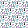 Doodle hand drawn fashion accessories and handbags seamless pattern in blue and pink pastel colors. Sketch shopping background — Stock Vector #74560815