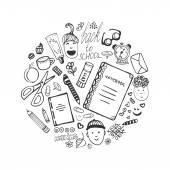 学校の文房具や子どものアイコン — ストックベクタ