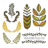 Ethnic collection with stylized colorful leaves. — Stock Vector