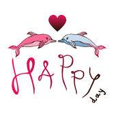 Love dolphins, concept Love, — Stock vektor