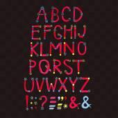 Watercolor font. Hand drawn alphabet — Stock Vector