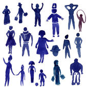 Watercolor people silhouette set. — Stock Vector