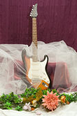 Composition with guitar and flowers — Stock Photo