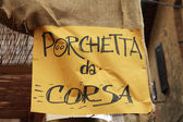 Tourist signboard for a typical Tuscan dish  Porchetta — Stock Photo