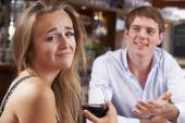 Couple On Unsuccessful Blind Date In Restaurant — Stock Photo
