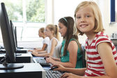 Group Of Female Elementary School Children In Computer Class — Stock Photo