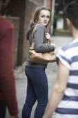 Teenage Girl Feeling Intimidated As She Walks Home — Stock Photo