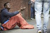 Homeless Teenage Boy Begging For Money On The Street — Stock Photo