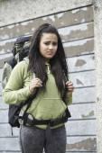 Homeless Teenage Girl On Street With Rucksack — Stock Photo