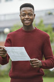 Teenage Boy Pleased With Good Exam Results — Stock Photo
