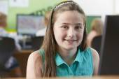 Female Elementary School Pupil In Computer Class — Stock Photo