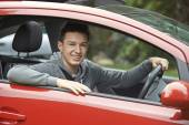 Newly Qualified Teenage Boy Driver Sitting In Car — Stock Photo