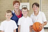 Teacher With Boys School Basketball Team — Stock Photo