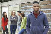 Gang Of Teenagers Hanging Out In Urban Environment — Stok fotoğraf