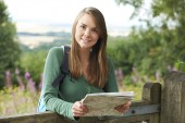Portrait Of Young Woman Hiking In The Countryside — Stock Photo