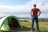 Rear View Of Man Camping And Admiring View — Stock Photo
