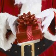 Close Up Of Santa Claus Holding Gift Wrapped Present — Stockfoto #58338075