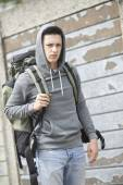 Homeless Teenage Boy On Street With Rucksack — Stock Photo