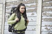 Portrait Of Homeless Teenage Girl On Street With Rucksack — Stock Photo