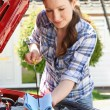 Woman Checking Car Engine Oil Level Under Hood With Dipstick — Stock Photo #73455601