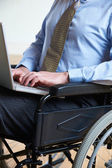 Disabled Businessman In Wheelchair Using Laptop — Stock Photo