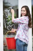 Portrait Of Woman Cleaning House Windows — Stock Photo
