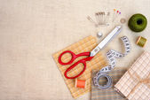 Copyspace frame with sewing tools and accesories — Stock Photo