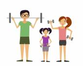 Family involved in sports. The mother and father and their child raising dumbbells. Vector illustration. — Stock Vector