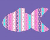Lilac background with pink abstract fish and pattern chain. Vector illustration — Stock Vector