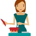 A woman prepares. Housewife holding a spoon over a saucepan. Vector illustration — Stock Vector #58696523