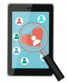 поиск любви онлайн. таблетка с лупой и сердцем. векторная иллюстрация — Cтоковый вектор