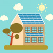 House with solar panels on the roof and a tree. Vector illustration — Stock Vector #60772419