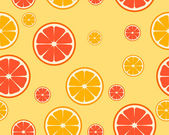 Bright orange and grapefruit background. Pieces of fruit. Vector seamless pattern — Stock Vector