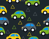 Background with toy cars. Vector seamless pattern — Vector de stock