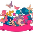 Spring concept. Card with flowers, butterflies and birds. Vector illustration — Stock Vector #61993215