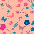 Spring background with flowers, butterflies and birds. Vector seamless pattern — Stock Vector #65440327