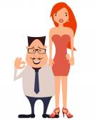 Couple. Rich businessman and his beautiful wife. Vector illustration — Stock Vector