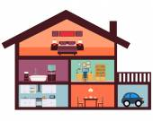 House interior with furniture. Kitchen, bathroom and bedroom. Vector illustration — Stockvector