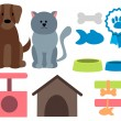 Pet icons. Cat, dog and accessories. Vector illustration — Stock Vector #70328029