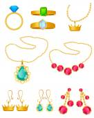 Jewelry set. Rings, pendants and earrings on a white background. Vector illustration — Stock Vector