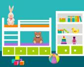 Kids room with a bed and toys. Vector illustration — Stockvektor